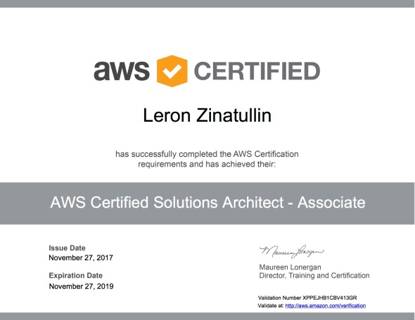 AWS Certified Solutions Architect - Associate certificate