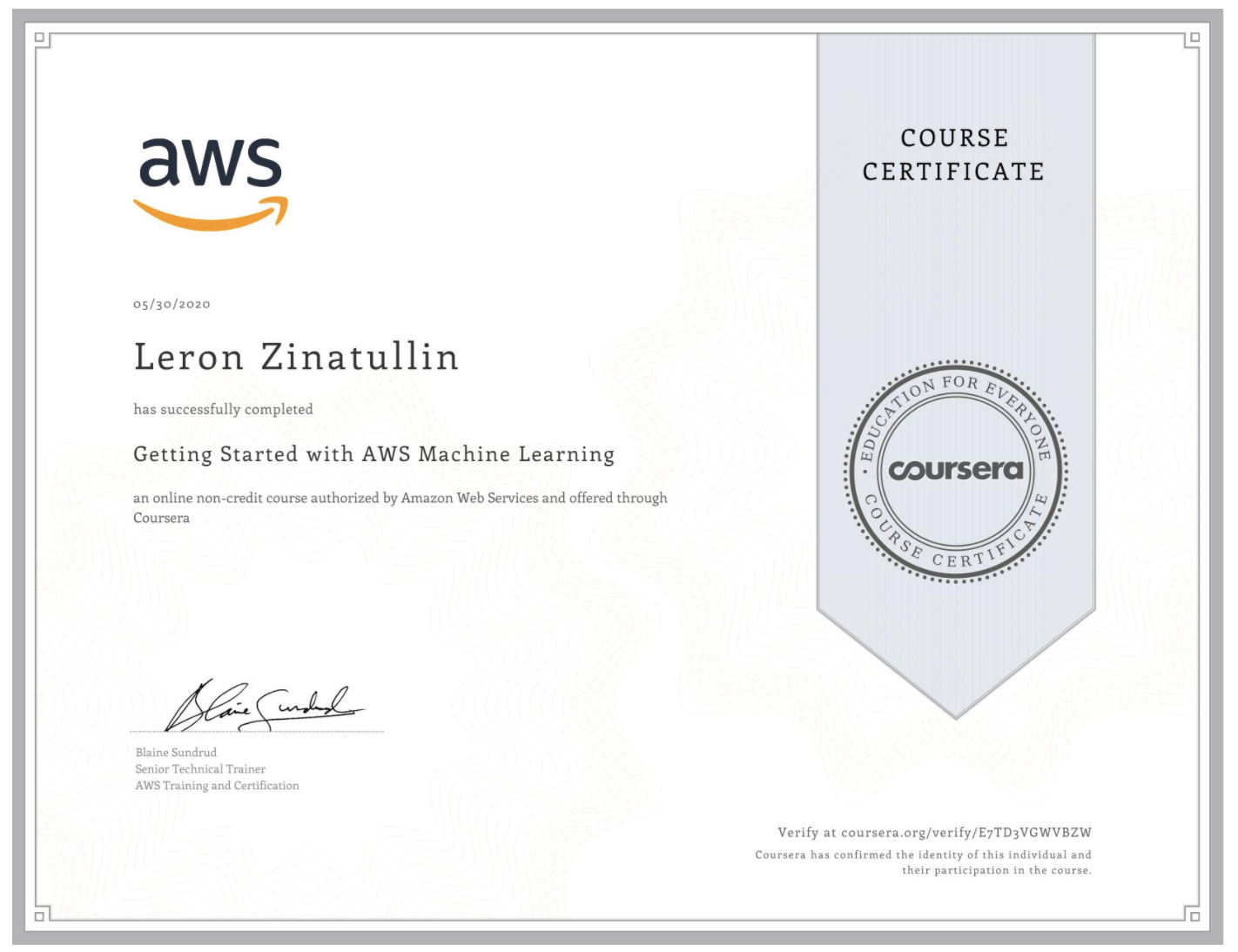 Coursera ML certificate
